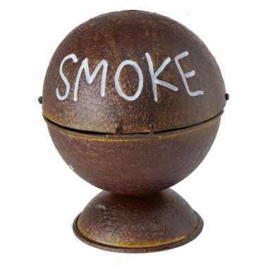 Ronde roestbruine terras/tuin asbak smoke 16 cm