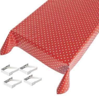 Rood tuin tafellaken voor buiten polkadot print 140 x 245 cm pvc/kuns