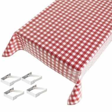 Rood tuin tafellaken voor buiten ruiten print 140 x 170 cm pvc/kunsts