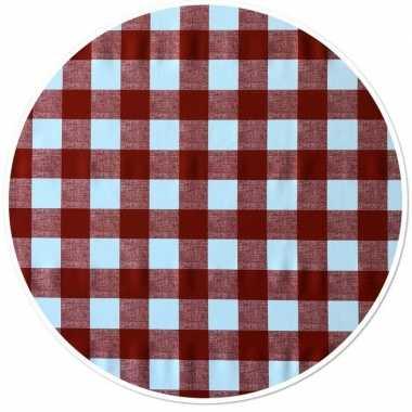 Rood tuin tafellaken voor buiten ruitjes print 160 cm pvc/kunststof
