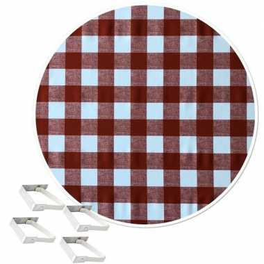 Rood tuin tafellaken voor buiten witte ruiten 160 cm rond pvc/textiel