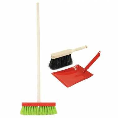 Speelgoed schoonmaak set stoffer en blik rood met gekleurde bezem