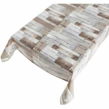 Tafellaken houten planken motief 140 x 240 cm