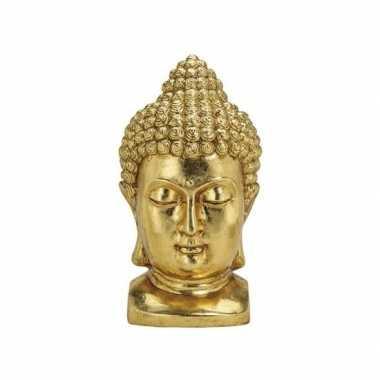 Tuin beeld boeddha hoofd goud 47 cm
