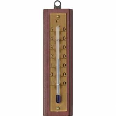 Tuin decoratie buitenthermometer van hout 13 cm