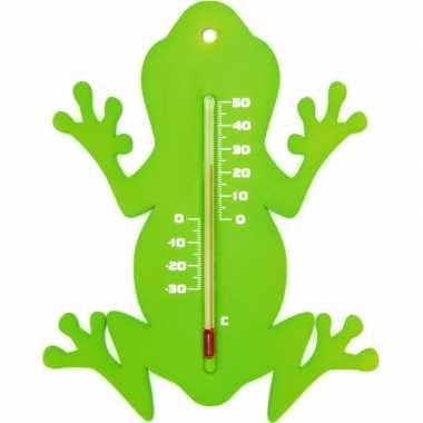 Tuin decoratie dieren groene kikkers buitenthermometer 15 cm