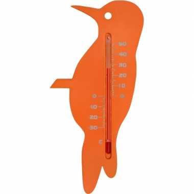 Tuin decoratie dieren oranje spechten vogels buitenthermometer 15 cm