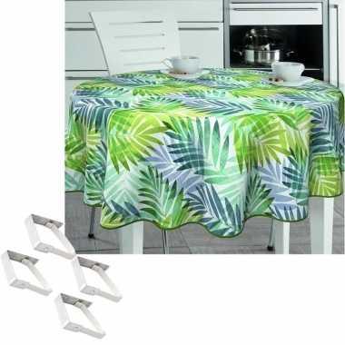 Tuin tafellaken voor buiten tropische palmbladeren print 160 cm rond pvc/textiel met aluminium klemmen