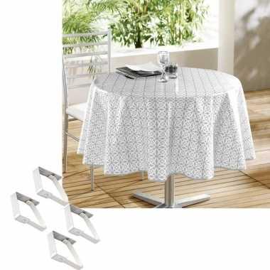 Tuin tafellaken voor buiten wit/grijs motief 160 cm rond pvc/textiel