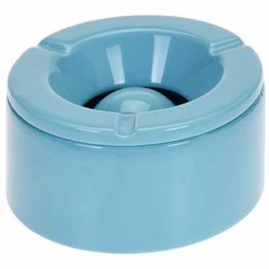 Tuinasbak blauw met deksel 14 cm