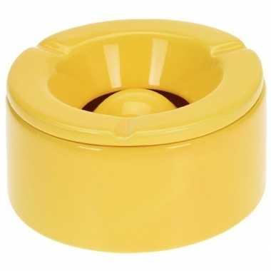Tuinasbak geel met deksel 14 cm