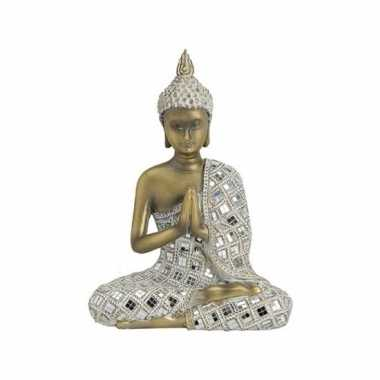 Tuindecoratie boeddha beeld beige/goudkleurig 25 cm