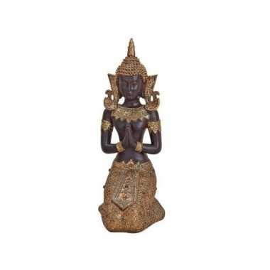 Tuindecoratie boeddha beeld bruin/goud 27 cm type 2