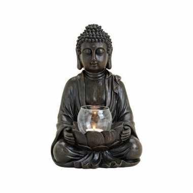 Tuindecoratie boeddha beeld met waxinelichthouder bruin 31 cm