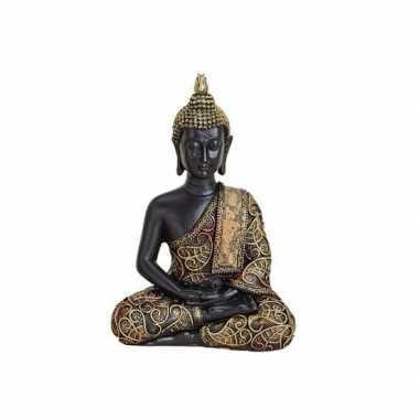 Tuindecoratie boeddha beeld zwart/goud 15 cm type 1