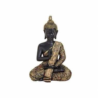 Tuindecoratie boeddha beeld zwart/goud 15 cm type 2