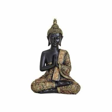 Tuindecoratie boeddha beeld zwart/goud 21 cm type 1