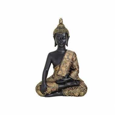 Tuindecoratie boeddha beeld zwart/goud 21 cm type 2