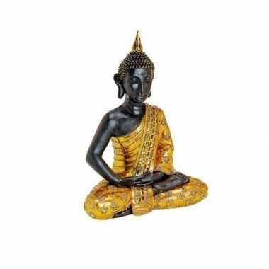 Tuindecoratie boeddha beeld zwart/goud 64 cm