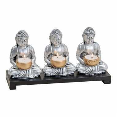 Tuindecoratie boeddha beeldjes met waxinelichthouder zilver 15 cm