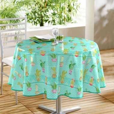 Turquoise blauw tuin tafellaken voor buiten cactus print 160 cm pvc/k