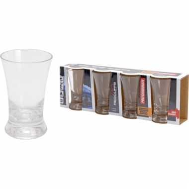 Vier onbreekbare plastic borrel glazen