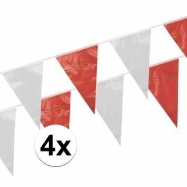 Vlaggenlijnen rood en wit 4 stuks van 10 meter