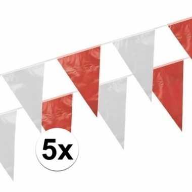 Vlaggenlijnen rood en wit 5 stuks van 10 meter