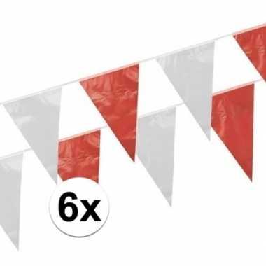 Vlaggenlijnen rood en wit 6 stuks van 10 meter