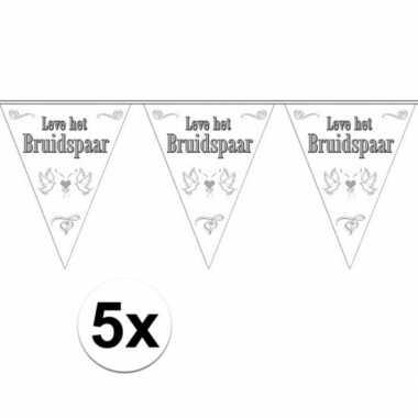 Vlaggenlijnen voor het huwelijks bruidspaar 5x stuks