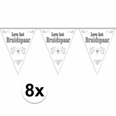 Vlaggenlijnen voor het huwelijks bruidspaar 8x stuks