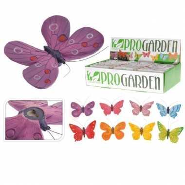 Vlinder schutting decoratie 9 x 15 cm