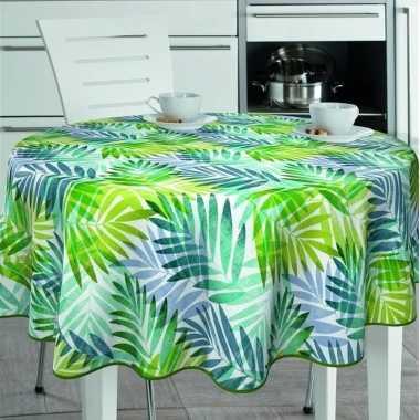 Wit/groen tuin tafellaken voor buiten palm print 160 cm pvc/kunststof