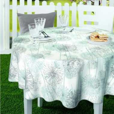 Wit/mintgroen tuin tafellaken voor buiten paardenbloem/pluizenbollen