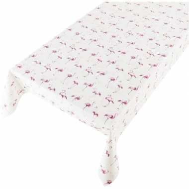Wit/roze tuin tafellaken voor buiten flamingos print 140 x 240 cm pvc