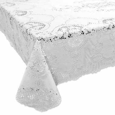 Wit tuin tafellaken voor buiten 152 x 228 cm rechthoekig van kunststo
