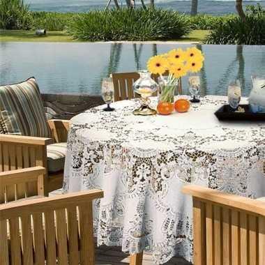 Wit tuin tafellaken voor buiten 180 cm rond van kunststof