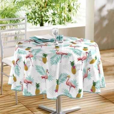 Wit tuin tafellaken voor buiten flamingos/ananassen print 160 cm pvc/