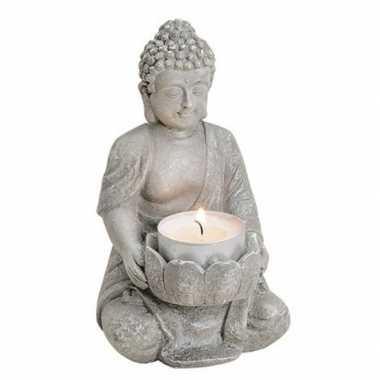 Woondecoratie boeddha beeld kaarshouder 14 cm