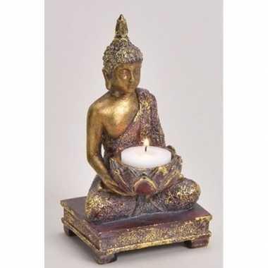 Woondecoratie boeddha beeld kaarshouder 18 cm