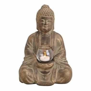Woondecoratie boeddha beeld kaarshouder 31 cm