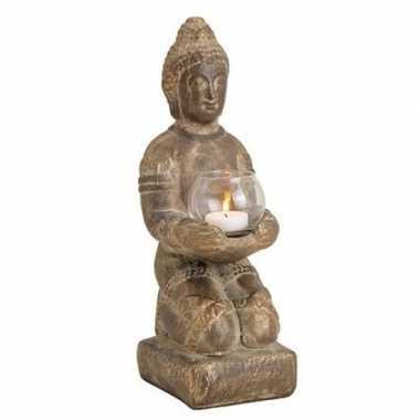 Woondecoratie boeddha beeld kaarshouder 33 cm