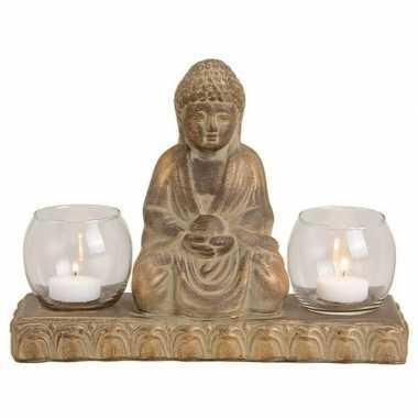 Woondecoratie boeddha beeld kaarshouders 21 cm