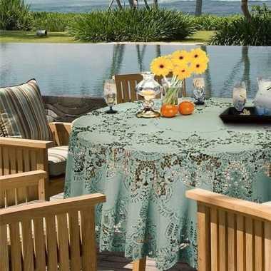 Zeegroen tuin tafellaken voor buiten 180 cm rond van kunststof