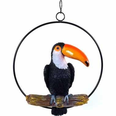 Zwarte decoratie toekans 20 cm dierenbeelden/tuinbeelden