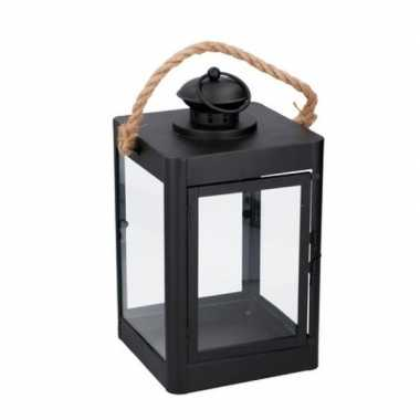 Zwarte lantaarn met koord tuin decoratie 19 x 35 cm