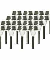 16x solarlamp lantaarn op zonne energie 24 cm transparant met rvs steker