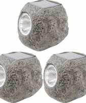 16x solarlamp stenen op zonne energie 10 cm met koel witte verlichting