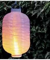 1x stuks luxe solar lampion lampionnen wit met realistisch vlameffect 20 x 30 cm