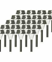 20x solarlamp lantaarn op zonne energie 24 cm transparant met rvs steker